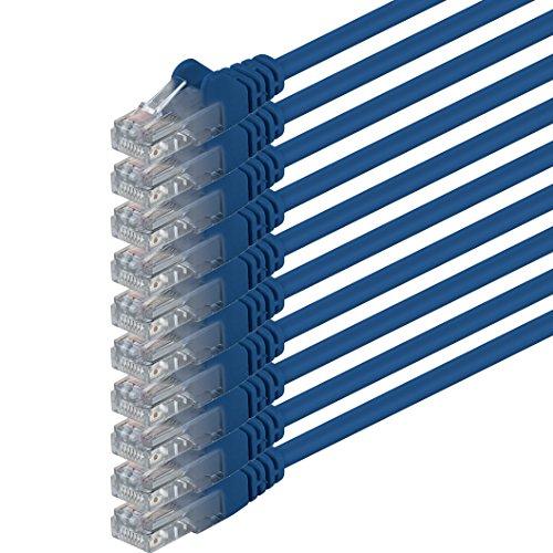 1aTTack.de netwerkkabel Cat.6 - (set) - CAT6 ethernetkabel lange kabel 1000 Mbits (PoE) patchkabel compatibel met CAT.5 CAT.6a CAT.7 0,5m blauw - 10x