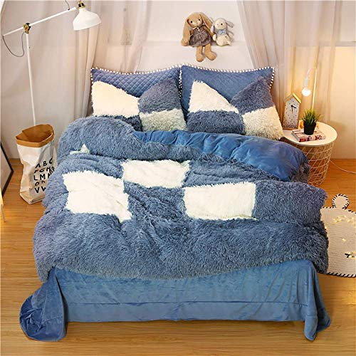 ZTBXQ Bed Accessories for Bedroom Bedding Sets Double Size Double Duvet Covers Set With Fitted Sheet Bedding Sets King Size Double Size Duvet Cover Twin Set Quilt Cover Sets Flat Sheet Fleece Warm