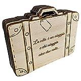 Il Villaggio degli sposi s.a.s. Box portafedi in Legno Forma Valigia Fatto in Italia