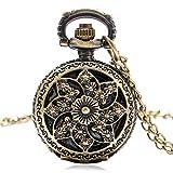 LQHBXX Reloj de Bolsillo Reloj de Bolsillo de Bronce Retro con diseño de Flor de Sol de Cuarzo con Collar de Regalo de Cadena