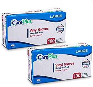 Care Plus Disposable Vinyl Gloves, Powder Free, Clear, Latex Free, Allergy Free, Large, 100 Gloves In A Box Pack Of 2