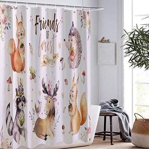 DAMCOK Badezimmer Dekor Cartoon Badezimmer Vorhang Eichhörnchen Igel Waschbär Hirsch Kaninchen Duschvorhang Home Textile Duschvorhänge Home Bad Vorhang-B150cmxH180cm