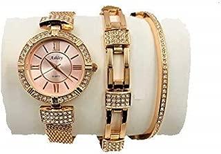 Women's 3 Piece Watch & Jewelry Gift Set - Rose Gold - 8891