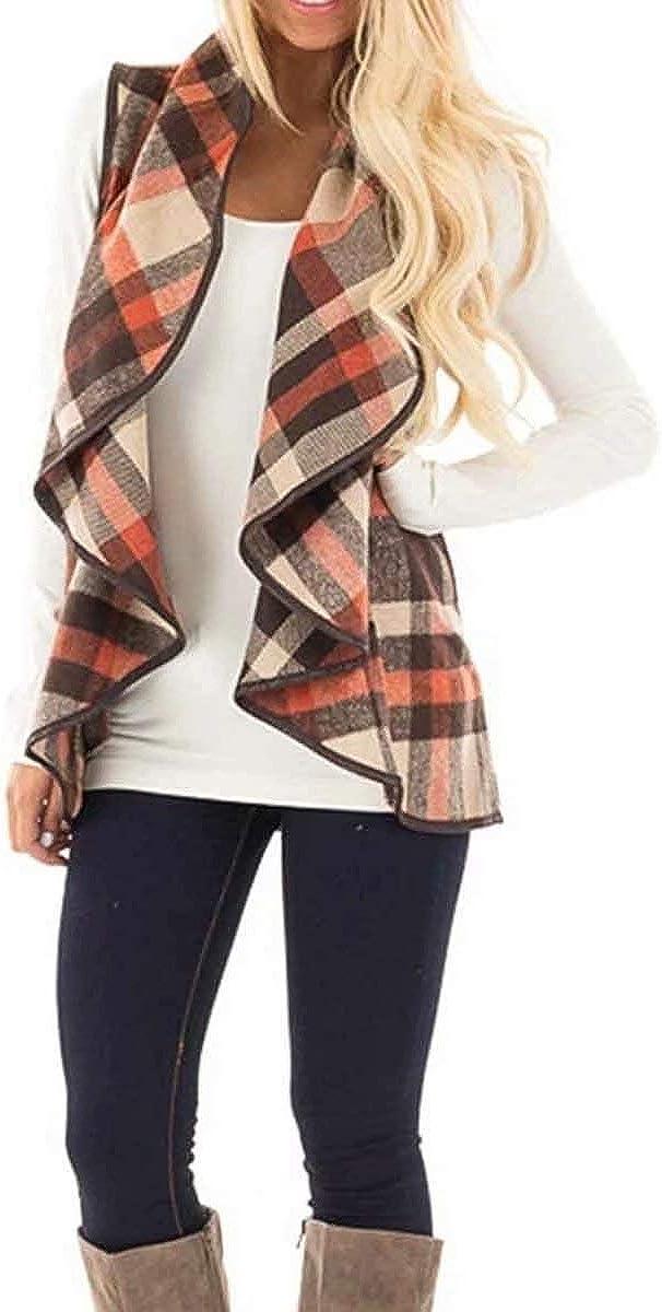 KIRJAUDU Womens Lapel Open Front Sleeveless Plaid Vest Cardigan with Pockets S-XXL