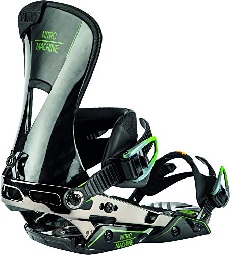 Nitro Snowboards Nitro Snowbaords Herren Machine '20 Premium Highend Freeride Carving Carbon Bindung Snowboardbindung, Black, L
