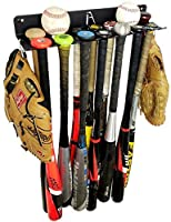 ALPHA BAT RACK XL (HOLDS 14 BATS) - Fence & Wall Mounted Baseball / Softball STEEL Bat Rack - Hardware INCLUDED for Fences/Concrete - Heavy Duty Rack for Baseball Storage/Organization