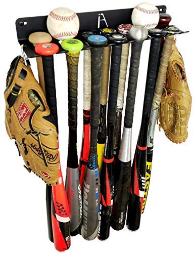 IRON AMERICAN Bat Rack Alpha Series Holds 7 Bats Heavy-Duty Steel Dugout Fence Mounted Baseball Softball Bat Storage Ball Display Hardware Included