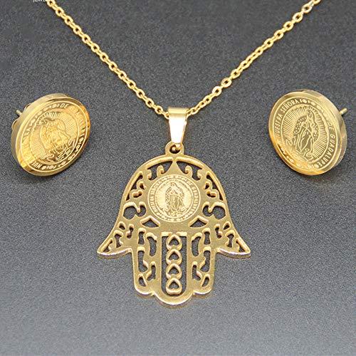 CLEARNICE Pendiente Y Collar Católico De Acero Inoxidable con Palma Medalla De La Virgen María Señora De Guadalupe para Cristianos