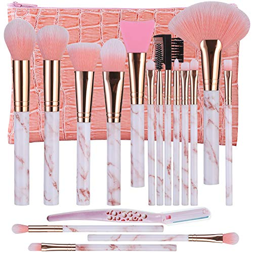 Make Up Brushes DUAIU 16+1 Pcs Premium Synthetic Foundation Eyeshadow Contour Face Brushes Set for Powder Cream Liquid with Silicone Facial Brush Eyebrow Razor PU Cosmetic Bag Pink