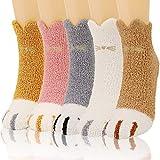 QKURT 5 pares de calcetines esponjosos con patas de gato, calcetines de invierno gruesos y cálidos para dormir, calcetines de casa para mujeres y niñas