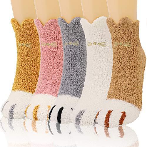 QKURT 5 Paar Katzenpfote Flauschige Socken, Kuschelsocken Winter Dick Warme Schlafsocken Hausschuhe Socken Home Socken für Frauen Mädchen