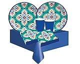Kit n.78 coordinato per feste a tema Boho vibes maioliche addobbi chic per compleanno motivo multicolore con maiolica