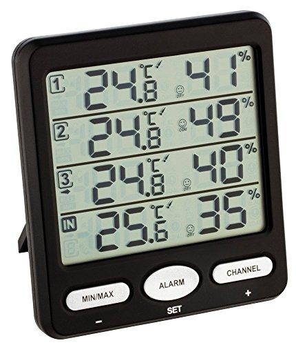 TFA Dostmann Funk-Thermo-Hygrometer Klima-Monitor TFA 30.3054 Raumklimakontrolle (schwarz mit Batterien)