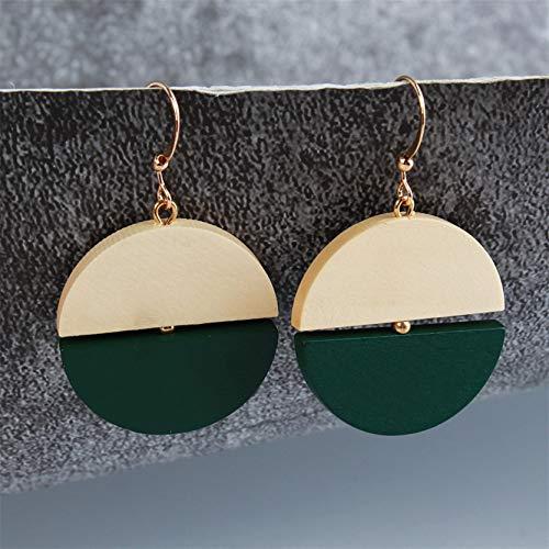 MAJFK Pendientes para mujer, pendientes de plata para ella, pendientes de plata con diseño geométrico, simple personalidad, retro, pendientes de perlas y diamantes de imitación de agua dulce, verde