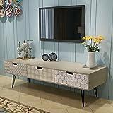 mewmewcat Meuble TV Table Basse en Bois avec 3 Tiroirs Scandinave Design 120 x 40 x 36 cm (l x P x H)