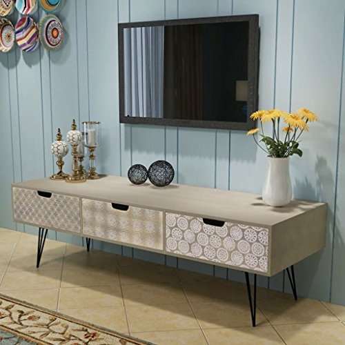 TV-kast met 3 lades 120x40x36 cm Grijs Meubilair Entertainment Centers & TV Stands