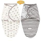 SaponinTree Pucksack Baby Wickeldecke für Neugeborene von 0-6 Monate, 2er Pack Universal Verstellbare Schlafsack Decke für Säuglinge Babys Neugeborene