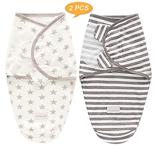 SaponinTree 2Pcs Envoltura Manta, Saco de Dormir Manta de Arrullo Cobija, Unisexo 100% Algodón para Bebes Recien Nacidos 0-6 meses