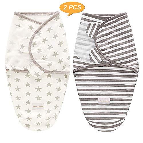 SaponinTree Pucksack Baby Wickeldecke für Neugeborene von 0-6 Monate, 2er Pack Universal Verstellbare Schlafsack Decke für Säuglinge Babys Neugeborene (Dunkelgrau)