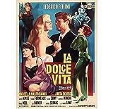 La Dolce Vita Federico Fellini Retro Vintage Movie Movie Decor Poster Wall Canvas Sticker Decoración de la casa (50X75Cm) -20x30 Inch Sin marco