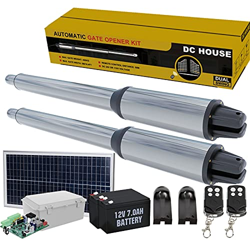 DC HOUSE Solar Automatic Gate Opener Kit Stainless Heavy Duty Dual Swing Gate Openers AC or DC Powered Up to 16.4 Feet or 850 Pounds for Home Security/Farm/Garage/Business