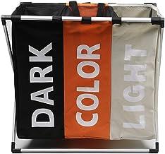 VORCOOL Laundry Cloth Hamper Sorter Basket Bin Foldable 3 Sections Large Dirty Clothes Hamper Sorter for Home (3 Colors)