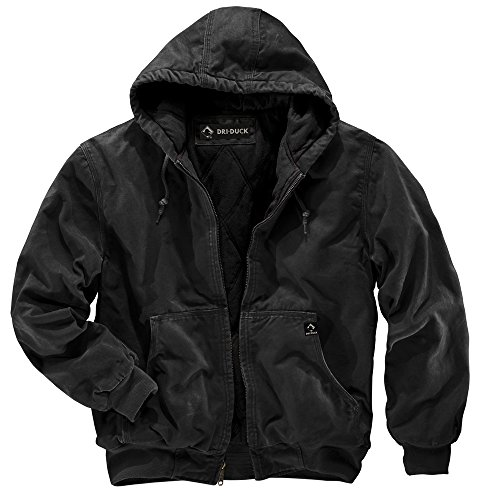 DRI Duck Men's 5020 Cheyenne Hooded Work Jacket, Black, Large