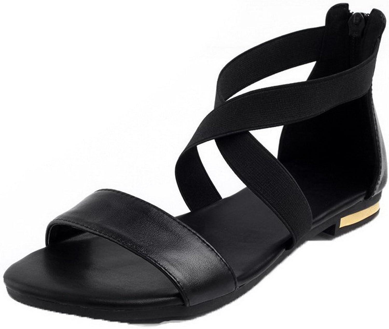 WeenFashion Women's Open Toe Buckle Pu Solid Low-Heels Sandals