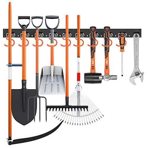 HORUSDY 64 Inch Adjustable Storage System, Wall Mount Tool Organizer, Tool Hangers for Mop and Broom Holder Shovel, Rake, Broom, Mop Holder, Etc.
