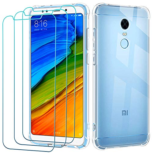 ivoler Klar Hülle für Xiaomi Redmi 5 Plus mit 3 Stück Panzerglas Schutzfolie, Dünne Weiche TPU Silikon Transparent Stoßfest Schutzhülle Durchsichtige Kratzfest Handyhülle Hülle