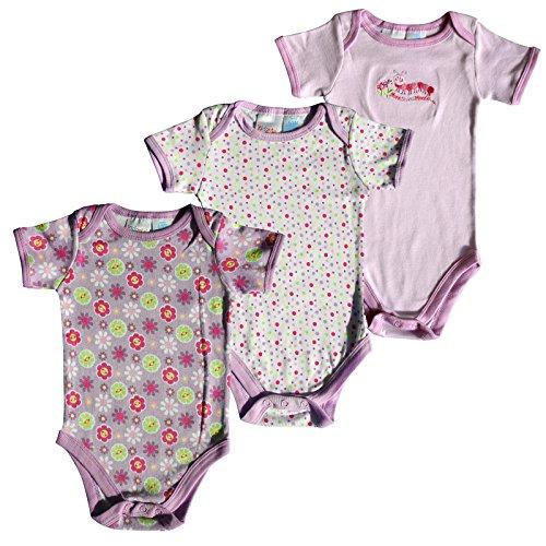 C M Lassen 3x Baby Body USA Marke Kidgets Unisex Kurzarm Babybody Unterhemd für Kleinkinder 0-3, 3-6 und 6-9 Monate in verschiedenen Farben (6-9 Monate, Flowers)