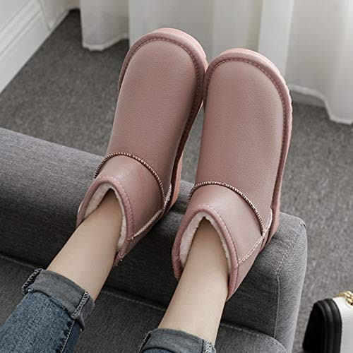 Shukun Bottes de neige Bottes de Neige Femme Tube Court Mode Fond Plat épais Chaussures Chaudes en Coton Imperméable étudiant
