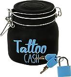 Divertida hucha con candado 'Tattoo Cash' de cristal en color negro.
