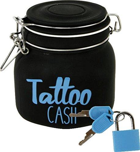 """Witzige Spardose mit Schloss """"Tattoo Cash"""" aus Glas in schwarz"""