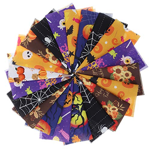 Halloween Cotton Fabric Bundles Sewing Solid Color Square Fabric Scraps Sewing Fabric for DIY Craft Party Supplies, 6 Style (24pcs/25x25cm)