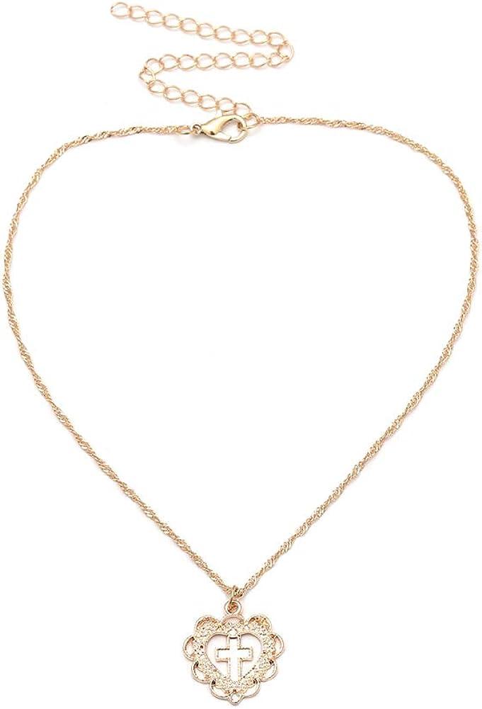 litymitzromq Gold Tone Necklace for Women Girls, Fashion Rhinestone Love Heart Cross Hollow Charm Pendant Necklace Women Jewelry Handmade Gold Pendant Choker Long Choker Chain Pendent Necklace