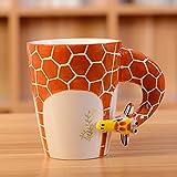 HapiLeap 3D Pure Hand-Painted Cute Animal Ceramic Coffee Mug Coffee Cup (Giraffe)