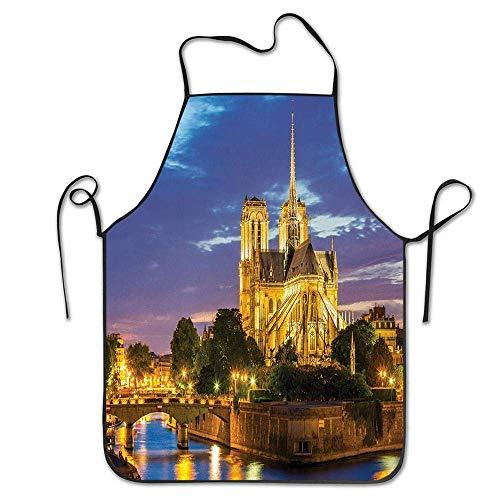 Not Applicable Cathédrale Notre Dame au crépuscule Paris France Riverside Paysage Tablier de réflexion de l'eau pour la Cuisine BBQ Barbecue Cooking Chef Cadeau pour Femmes/Hommes