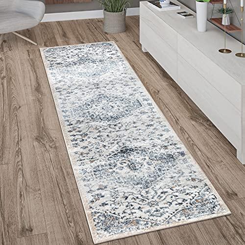 Paco Home Teppich Läufer Flur Schlafzimmer Kurzflor Modern Vintage Orient Muster Bordüre, Grösse:80x150 cm, Farbe:Blau 2