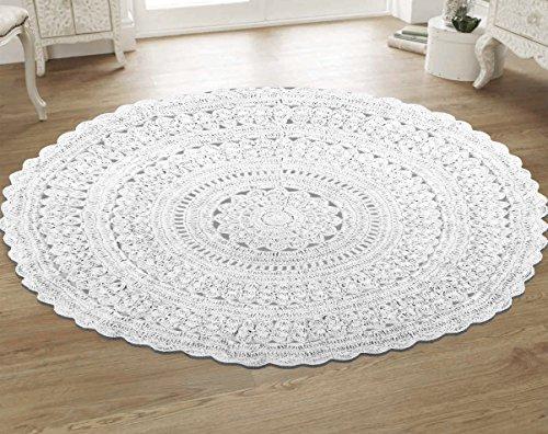 Pop Shop 784857749021 Macrame Round Rug 3' White