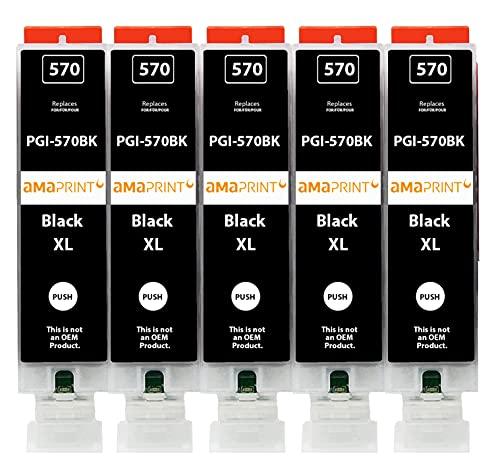 Amaprint 5 XL Cartuchos Compatible con Canon PGI 570 PGBK Negro para Pixma MG5700 MG5750 MG5751 MG6800 MG6850 MG7750 TS5000 TS5050 TS5055 TS6050 TS8050 TS9050 TS9055