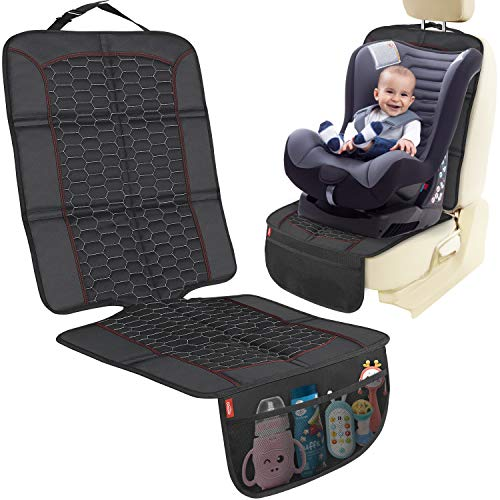 Oasser Kindersitzunterlage Auto Anti-Rutsch Autositzauflage Sitzschoner Auto Kindersitz mit rutschfestem Silikon und Netztasche ISOFIX geeignete Unterlage für Kindersitze