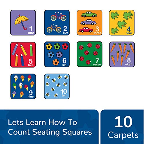 """Learning Carpets Let's Learn How to Count Seating Squares, 14"""" by 14"""" Each (Set of 10) – Fun, Colorful Graphics – Learn to Count from 1-10, Teaches Number Association – Durable, Easy to Store, Move"""