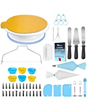 WisFox Decoración de Pasteles, Torta Giratoria, 103 Piezas Decoración Kit, Plato Giratorio para Pasteles para Principiantes y Amantes de Pasteles