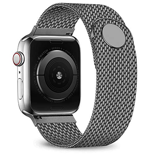 jwacct Compatible for Apple Watch Band 42mm 44mm, Adjustable Stainless Steel Mesh Wristband Sport Loop for iWatch Series 5 4 3 2 1,Space Gray