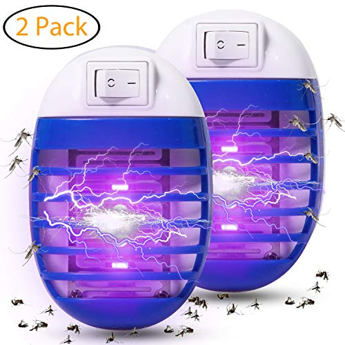 Wanqueen 2 Pack Indoor Electric Bug Zapper Plug in Mosquito Killer with UV LED Night Light Electronic Insect Trap for Pests Fruit Flies Flying Gnats, 01-Blue