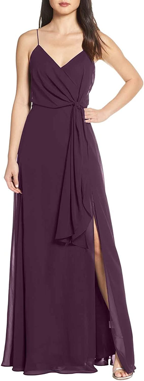 V Neck Spaghetti Strap Evening Dress for Women Formal Bridesmaid Party Prom Gown
