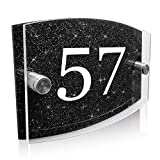 Personalised House Sign Plaque Modern Glass Effect Acrylic Door Number Wall Sign Door Plate Street Road Plate Plaque Hand Finished in UK (Black Number)