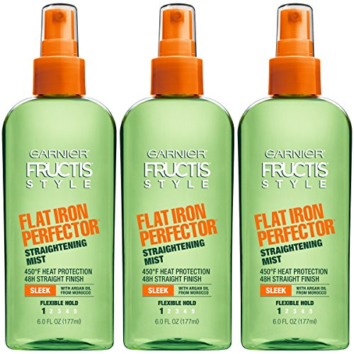 Fructis Style Flat Iron Perfector Hair Straightening Mist, 6 Ounce Bottle, Sleek 3 Count 18.0 Fl Oz