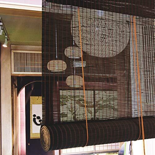GDF Bamboe Vouwgordijn, natuurlijk bamboe, zonlicht filter, rolluiken met volant UV-bescherming, zonwering, warmte-isolatie, decoratief bamboegordijn, breedte 70 cm